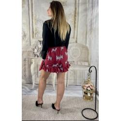 Falda Pantalón Cebra Granate